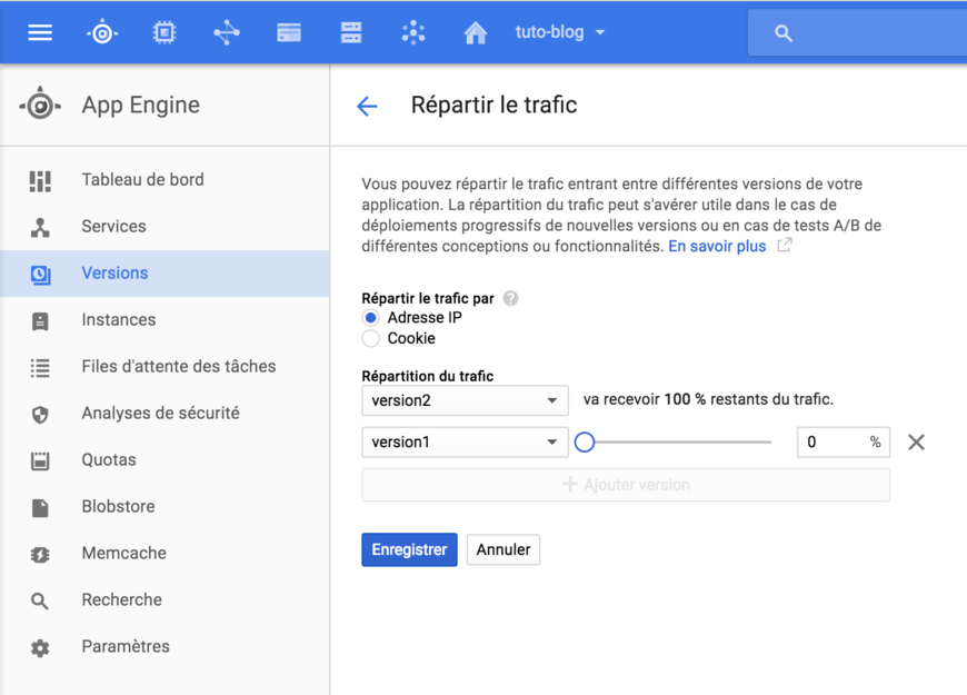 Répartir le traffic - Google Cloud Platform