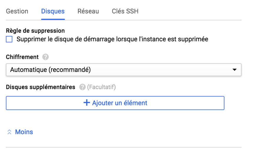 Suppression du disque - Google Cloud Platform