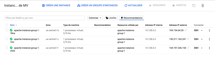 groupe d'instance - Google Cloud Platform