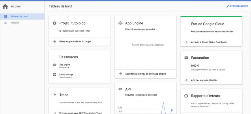 Dashboard - Google Cloud Platform